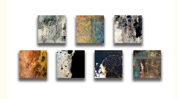 New paintings, each acrylic and mixed media on cradled panels 8x8x2""